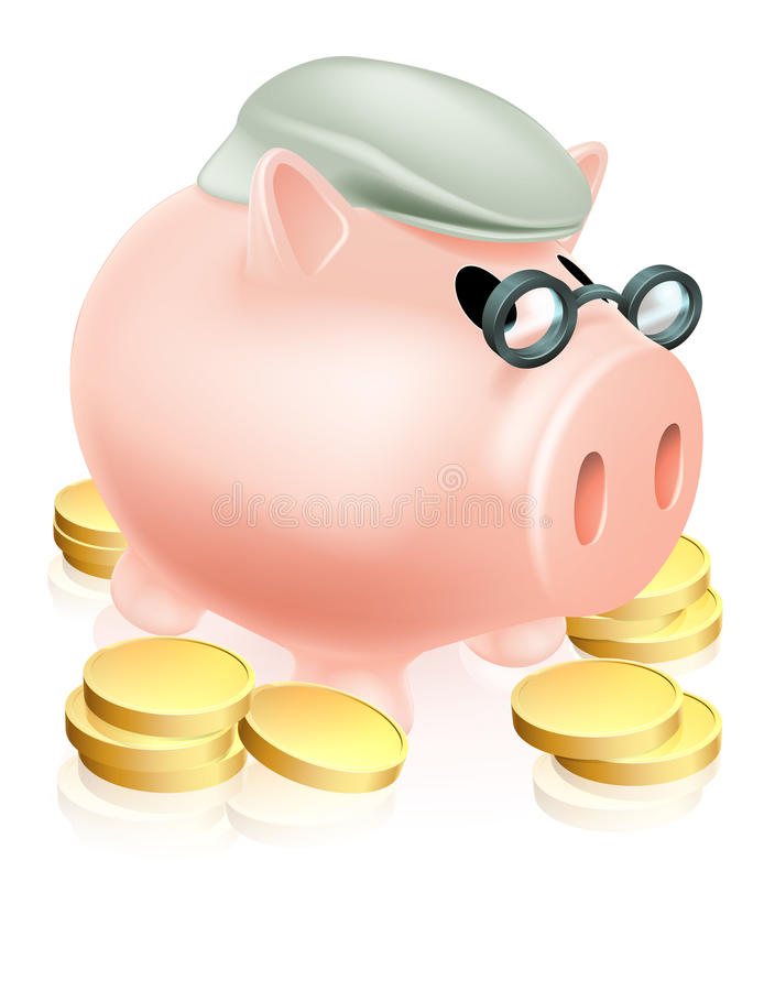 Pensionssparschwein Mit Münzen Lizenzfreie Stockfotos