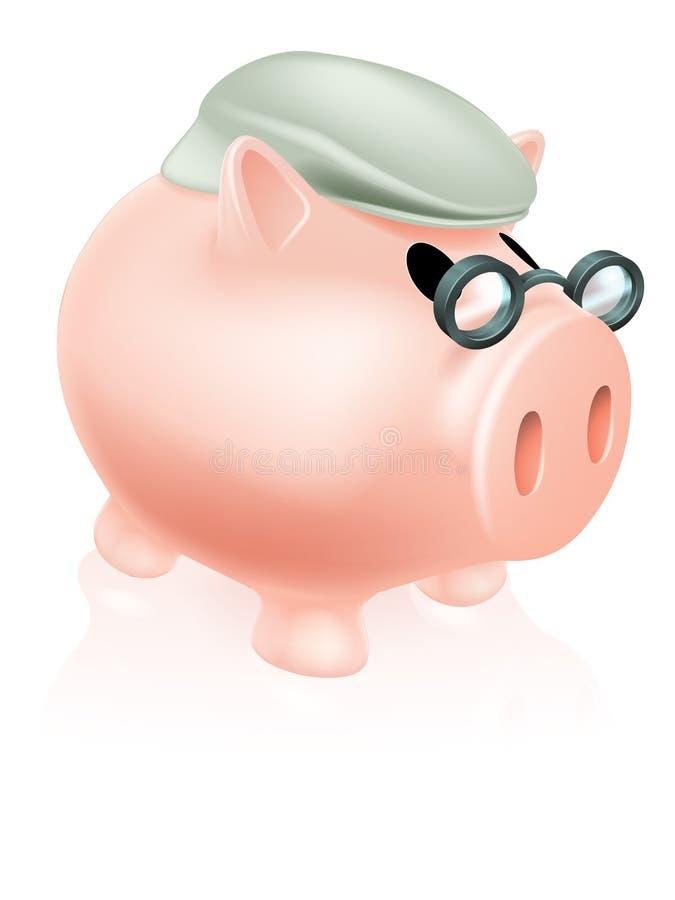 Pensionsvinsparbössa royaltyfri illustrationer