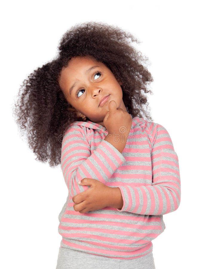 Pensive african little girl stock images