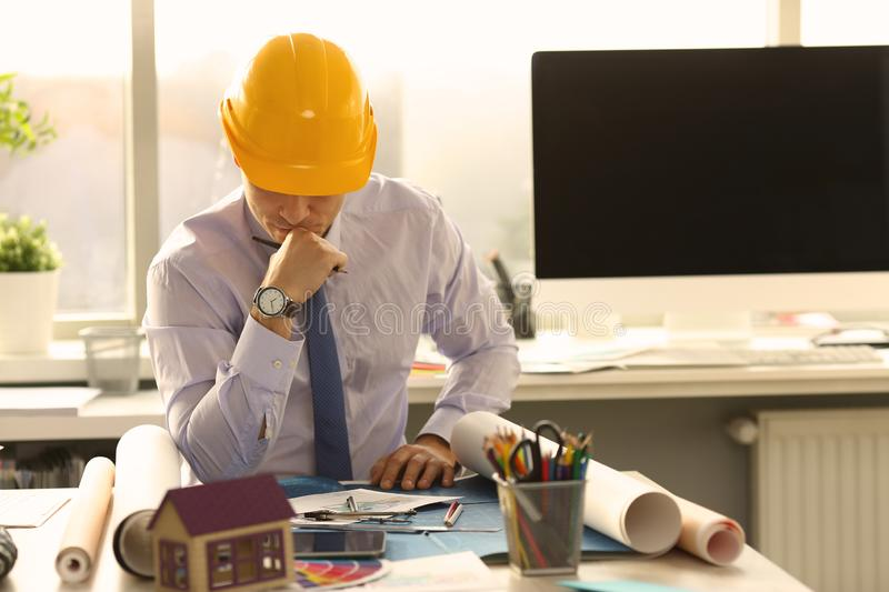 Pensive Architect Think at Engineering Office royalty free stock photos