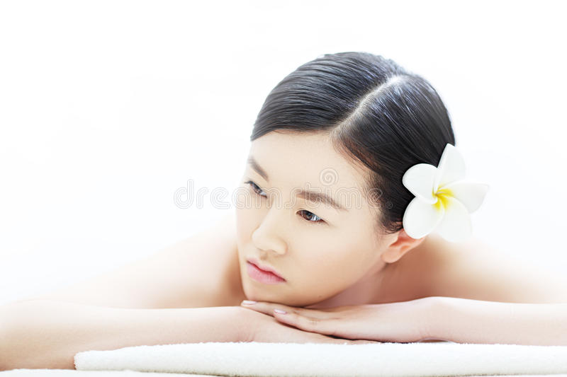 Pensive Asian girl royalty free stock images