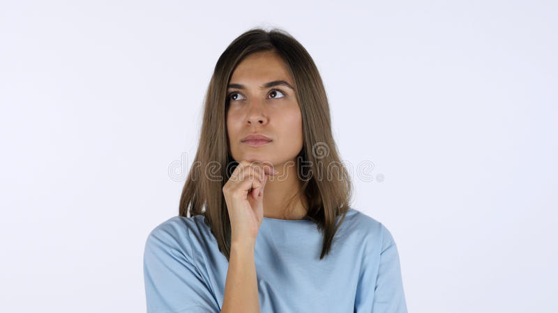 Pensive Beautiful Girl, White Background in Studio royalty free stock photos