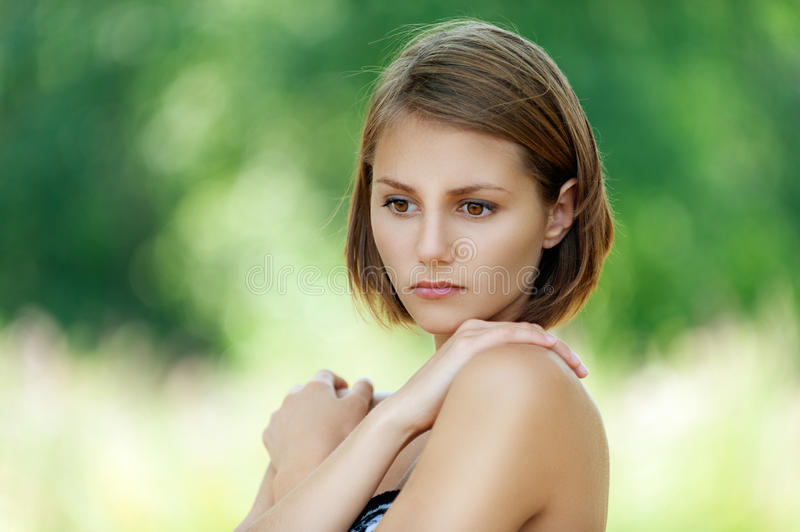 Pensive Beautiful Young Woman Royalty Free Stock Image