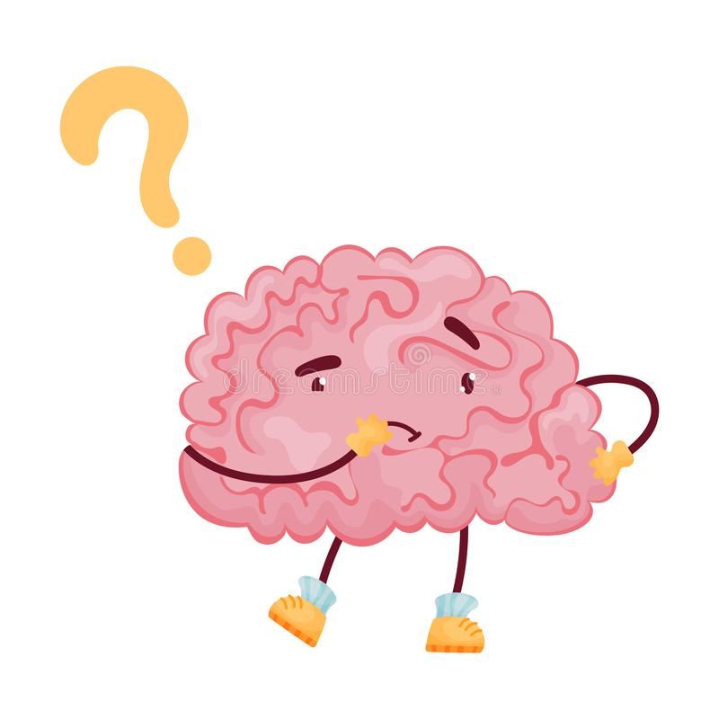 Pensive brain cartoon. Vector illustration on white background. stock illustration