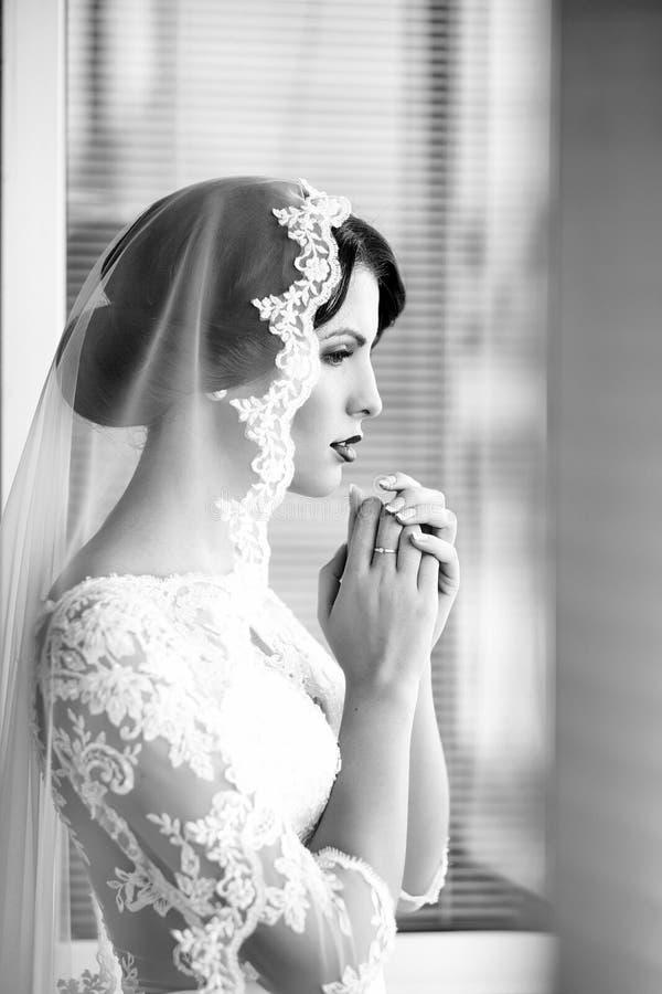 Pensive brunette bride royalty free stock images