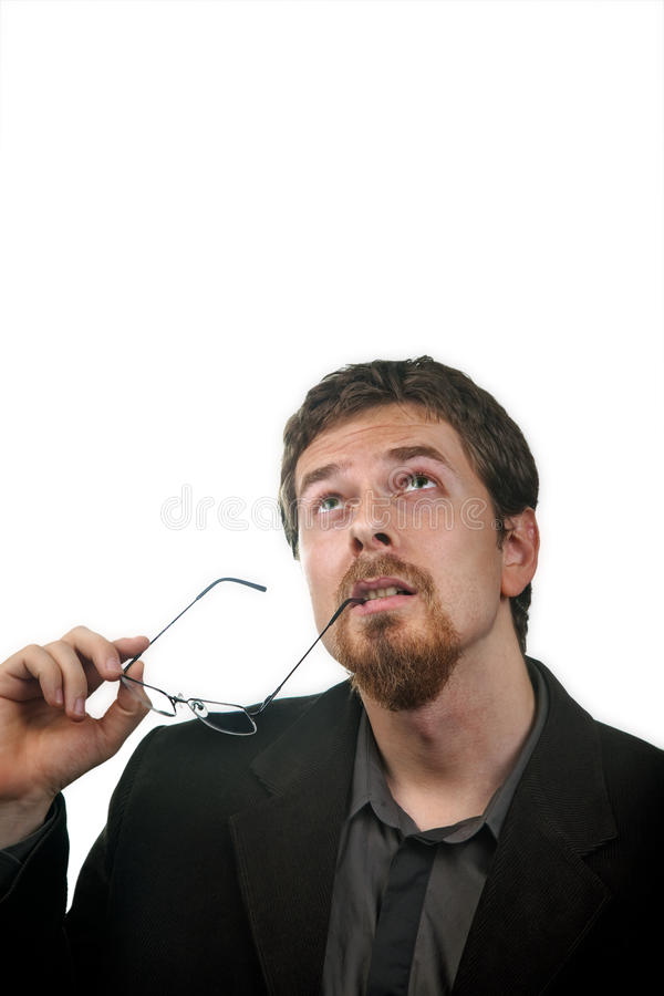 Pensive business man thinking for solutions stock photography