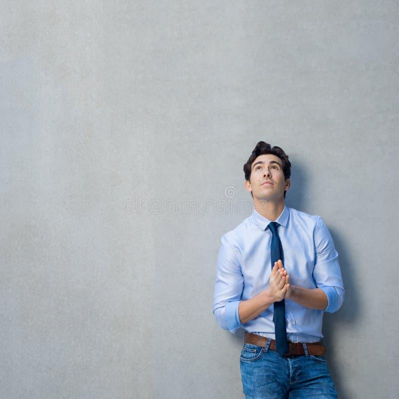 Pensive business man stock image