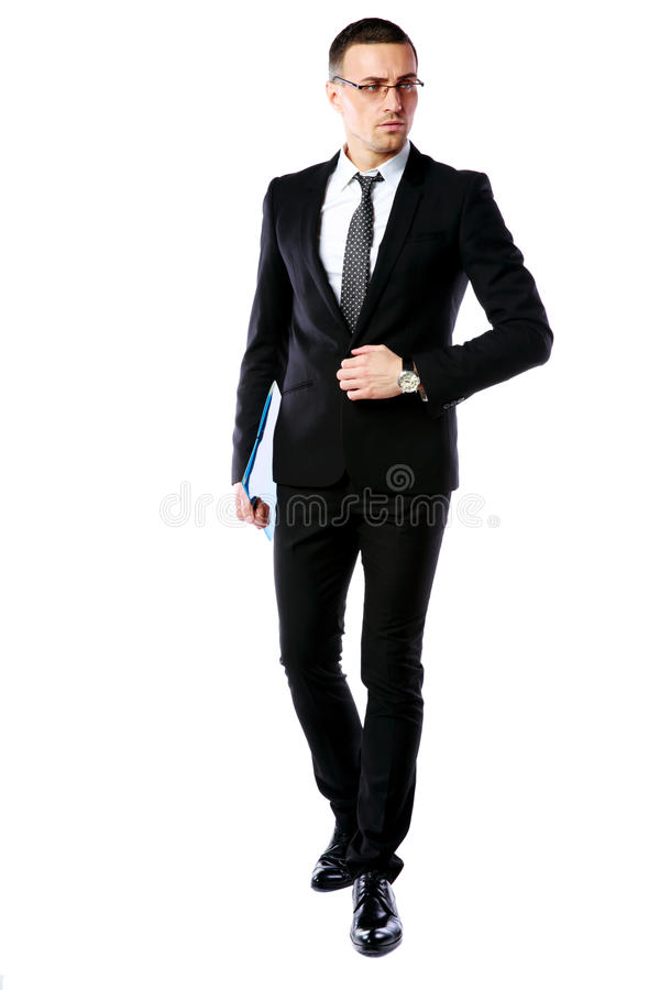 Pensive businessman in glasses royalty free stock photo