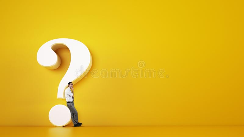 Man leaning on a big white question mark on a yellow background. 3D Rendering royalty free stock images