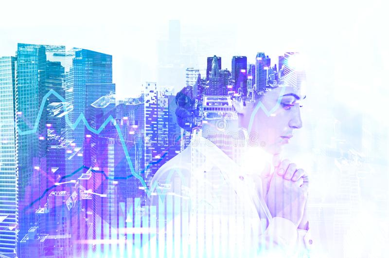 Pensive businesswoman in city, graph royalty free stock photos