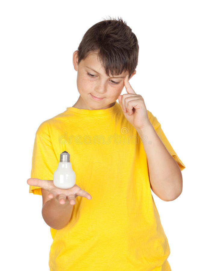 Download Pensive child with a bulb stock image. Image of pensive - 20193003