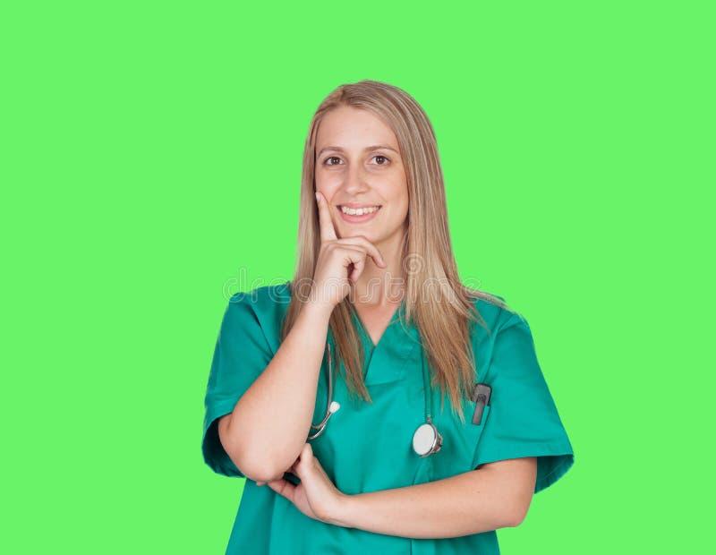 Pensive Doctor Girl Royalty Free Stock Image