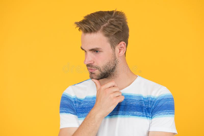 Pensive face. Man serious face thoughtful. Have some doubts. Thoughtful expression. Find solution. Thoughtful man on stock photography