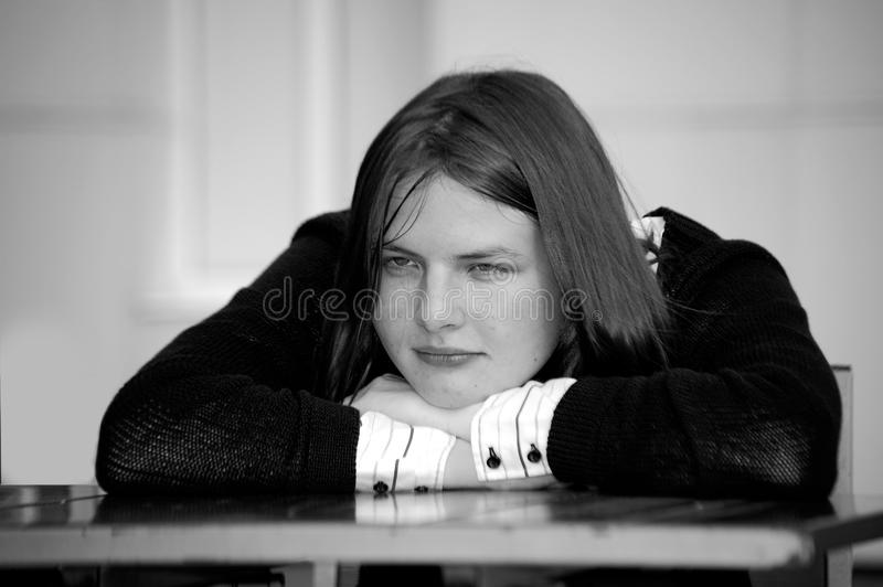 Pensive girl stock photography