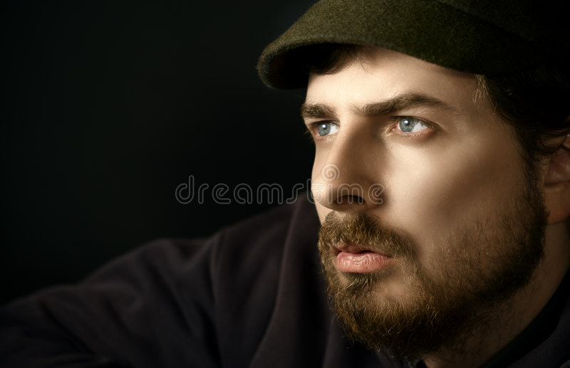 Pensive handsome young man royalty free stock photos