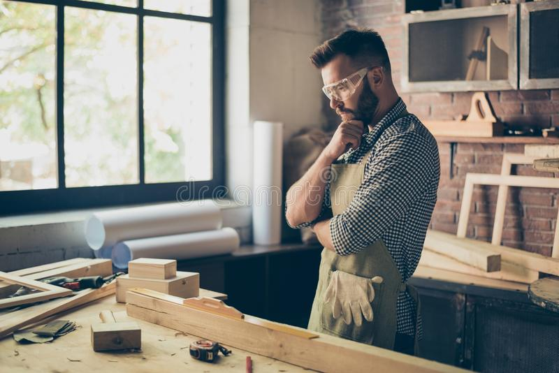 Pensive hardworking thoughtful serious concentrated minded cabin royalty free stock photos