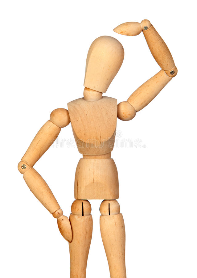 Pensive jointed wooden mannequin royalty free stock photos