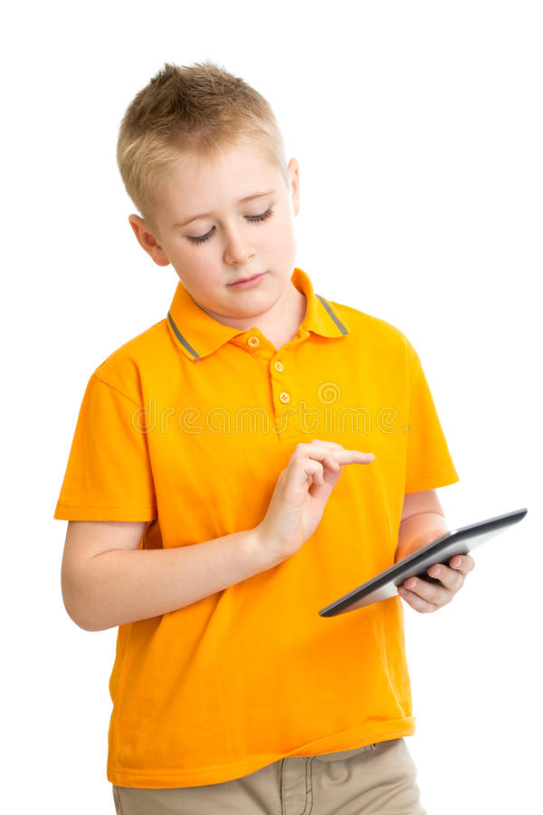 Pensive kid boy with tablet pc or phablet isolated stock images