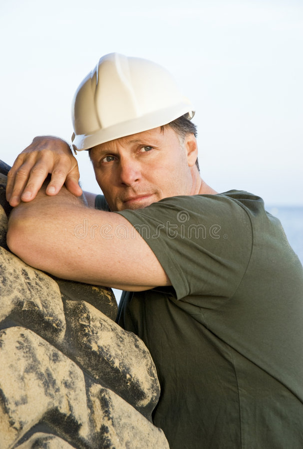 Download Pensive Looking Construction Worker Stock Image - Image: 9128809