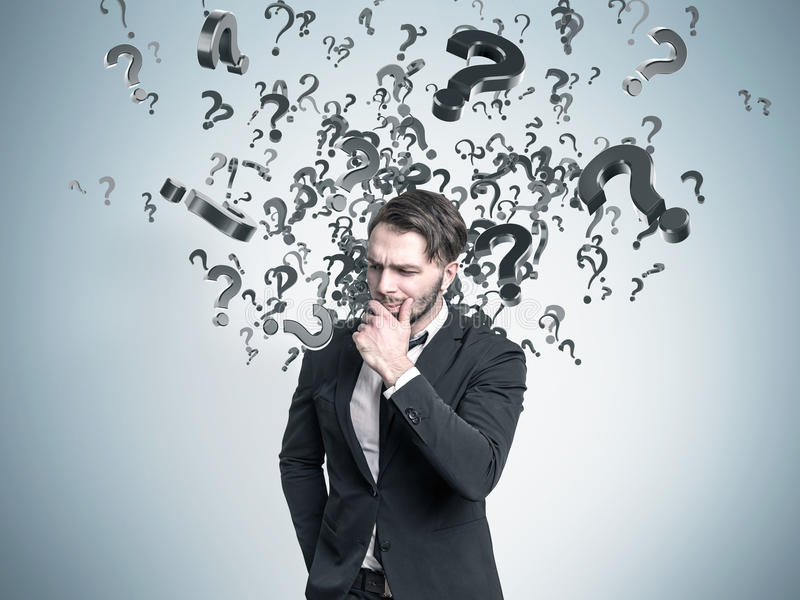 Download Pensive man stock image. Image of innovation, drawing - 83722841
