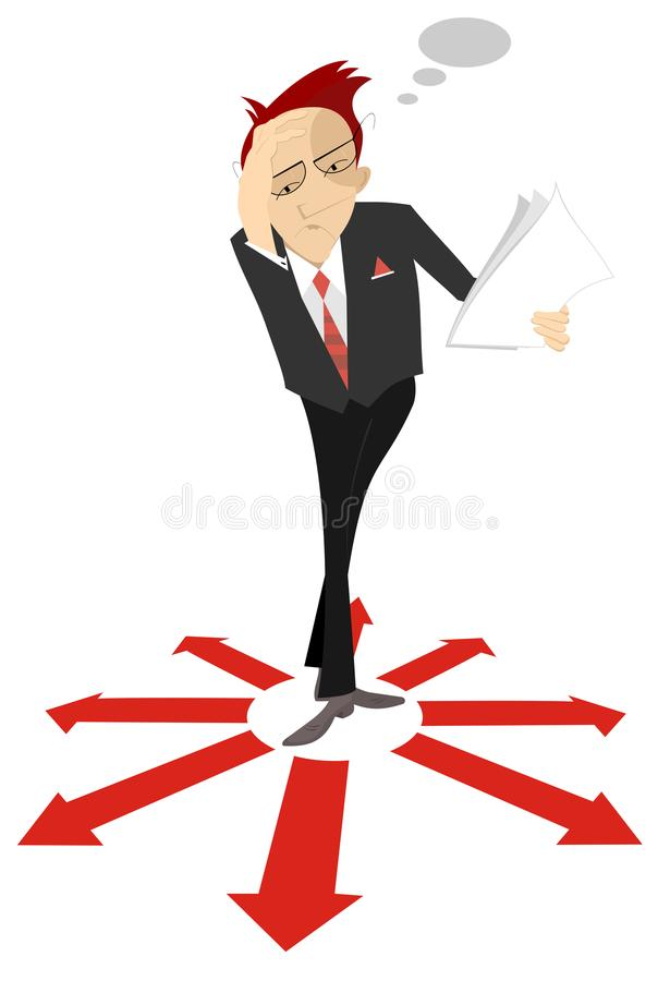 Free Pensive Man Or Businessman Holds Papers And Stays Surrounded By Arrow Signs Concept Illustration Royalty Free Stock Images - 112910629