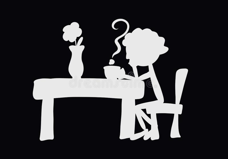 Pensive man sitting at a table with a cup of drink, steam in the form of a question mark and a flower in a vase.  stock illustration