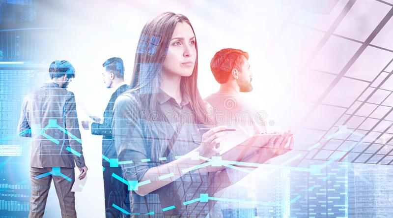 Pensive manager team in city, graphs royalty free stock image