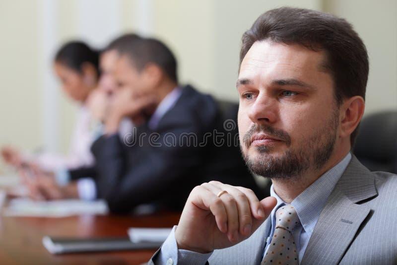 Pensive mature businessman royalty free stock photos
