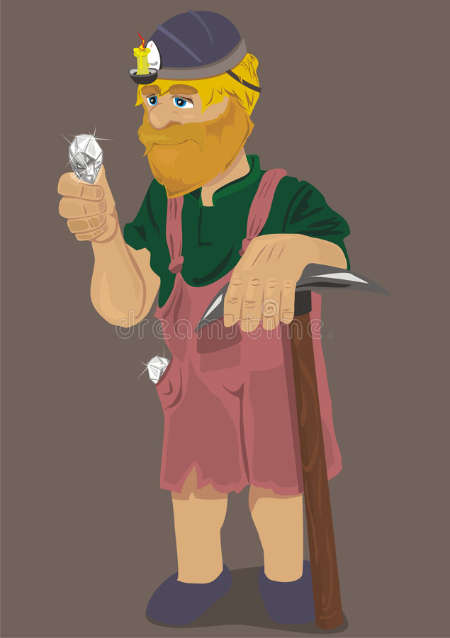 Pensive miner. Miner found a diamond, and this is very pleased vector illustration