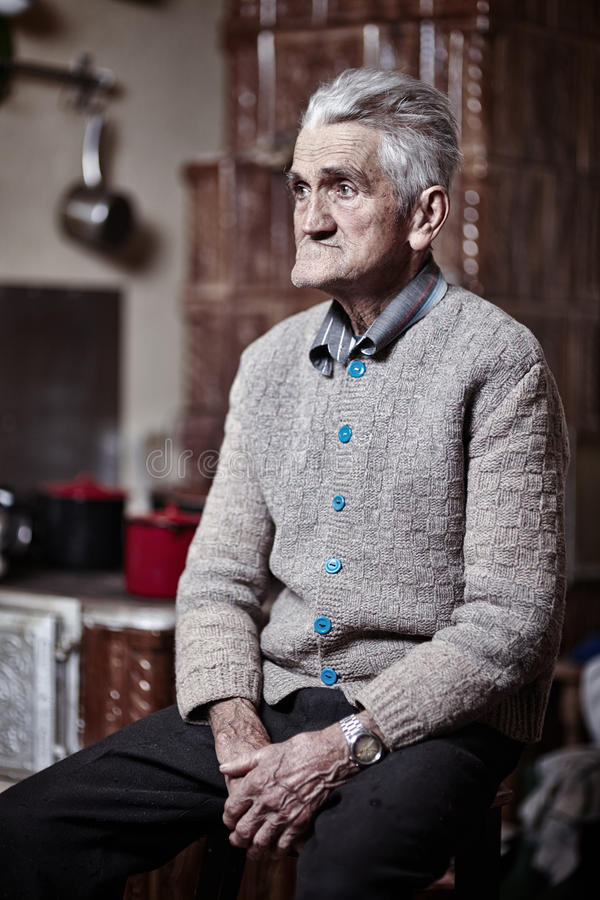Download Pensive Old Man Indoor Royalty Free Stock Image - Image: 37504346