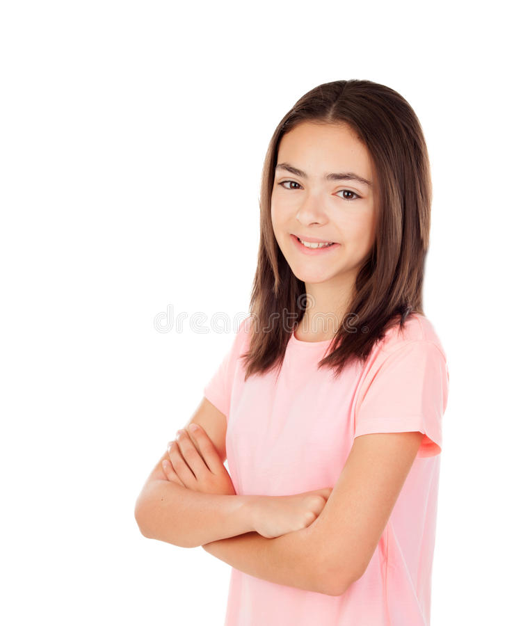 Pensive pretty preteenager girl with pink t-shirt royalty free stock images