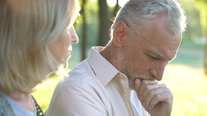 Pensive retired man thinking over life difficulties, hard life of pensioners. Pensive retired men thinking over life difficulties, hard life of pensioners, stock royalty free stock images