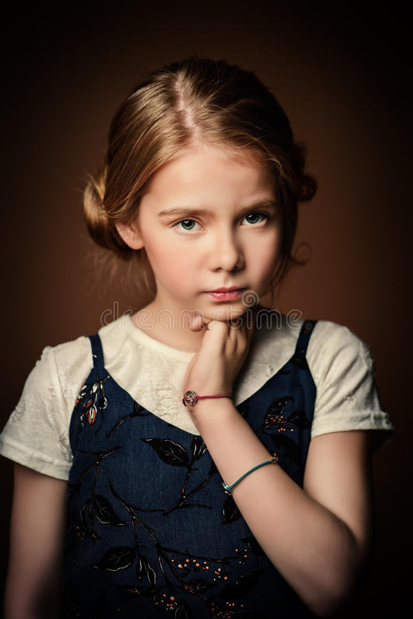 Pensive sad girl royalty free stock photo