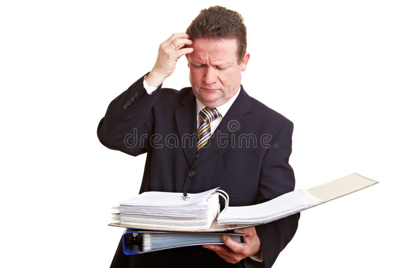 Pensive senior manager looking at royalty free stock photography