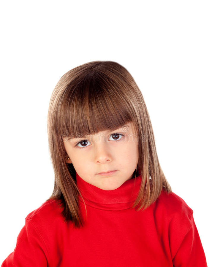 Pensive small girl with red t-shirt royalty free stock photos