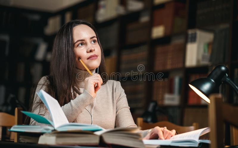 Pensive Student Holding Pencil stock photography