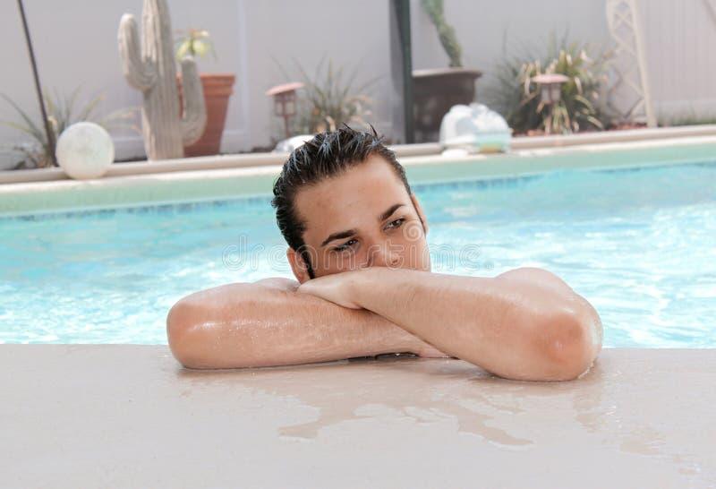 Pensive Teenager in a pool