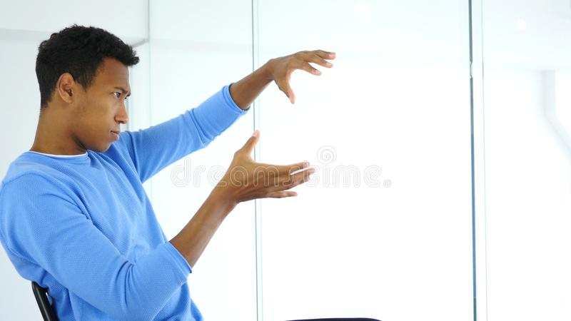 Pensive, Thinking New Idea at Work, Creative Designer stock image