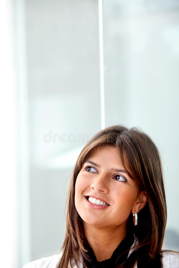 Download Pensive woman stock image. Image of smile, happy, dreaming - 12190525