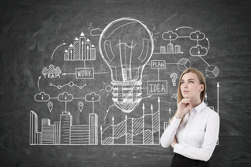 Pensive woman and business idea. Portrait of a pensive blond businesswoman wearing a white blouse and standing near a blackboard with a business idea sketch stock image
