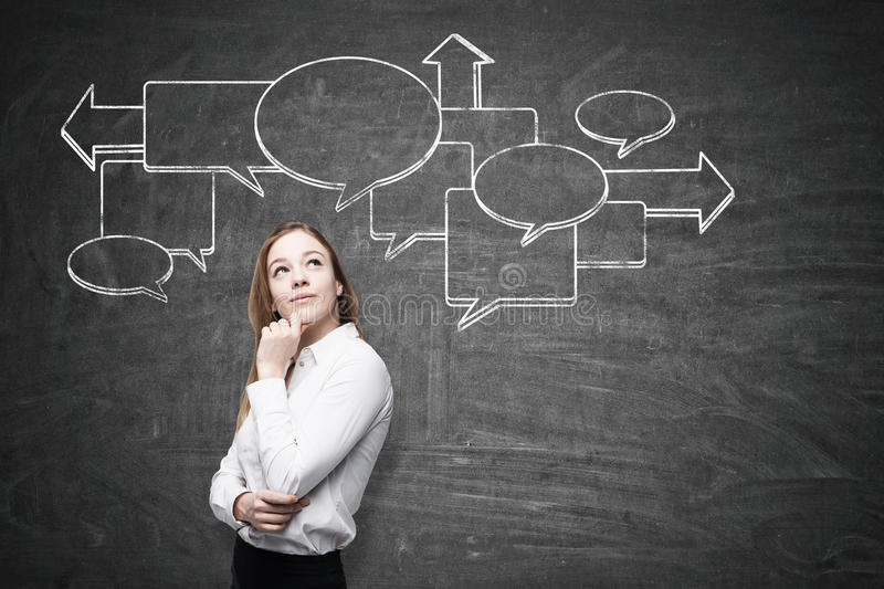Pensive woman and flow chart on blackboard. Portrait of a pensive blond woman with her hand near the chin standing near a blackboard with a flow chart drawn on royalty free stock photos