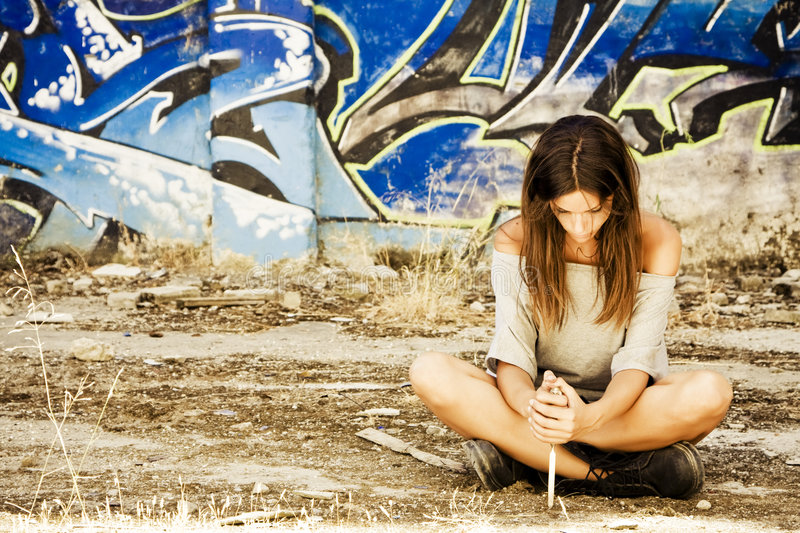 Download Pensive woman with knife stock photo. Image of expressions - 6624344