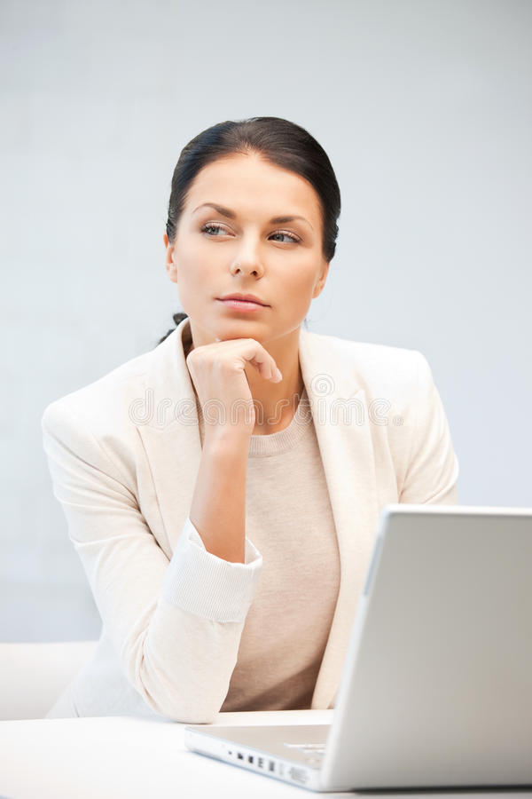 Download Pensive Woman With Laptop Computer Stock Image - Image: 20238965