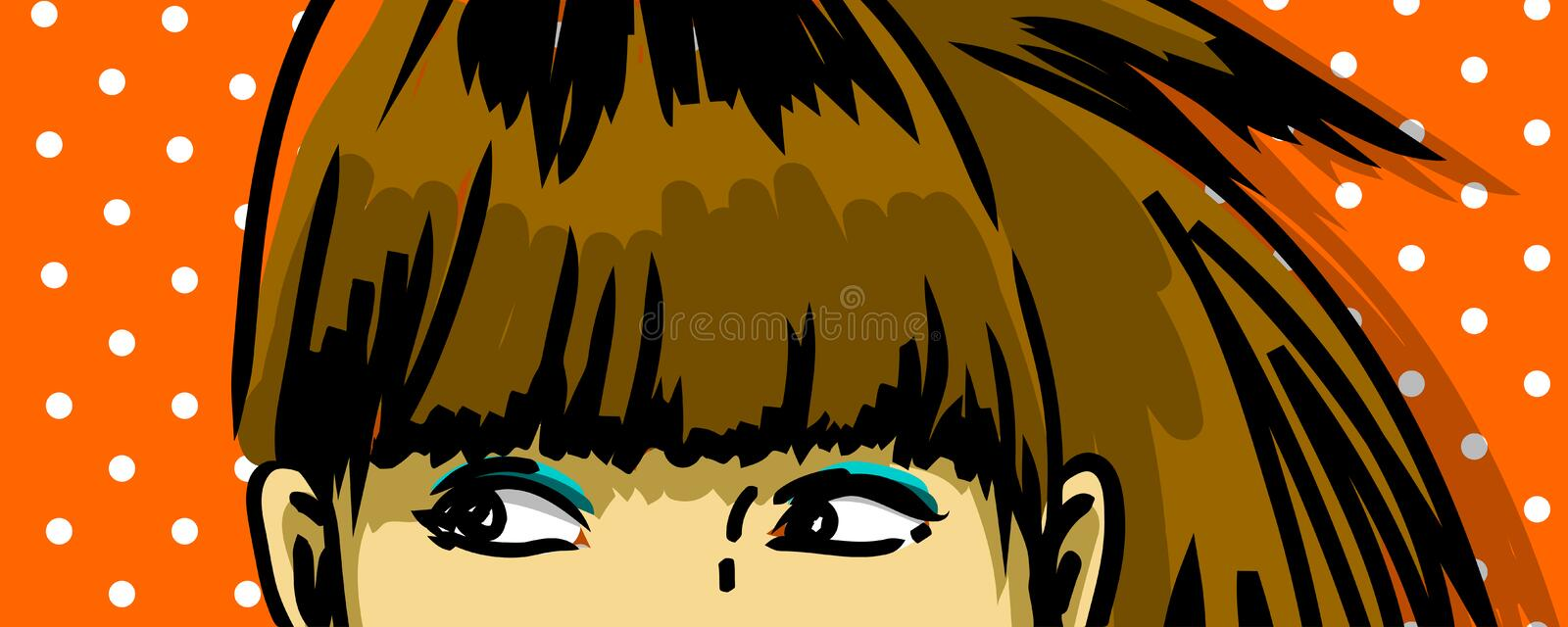 Pencive woman peeking stock illustration