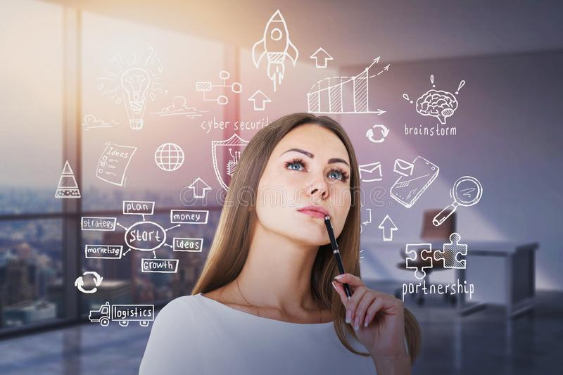 Pensive woman with pen, start up sketch in office stock photo