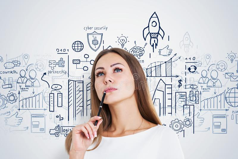 Pensive woman with pen, start up sketch royalty free stock image