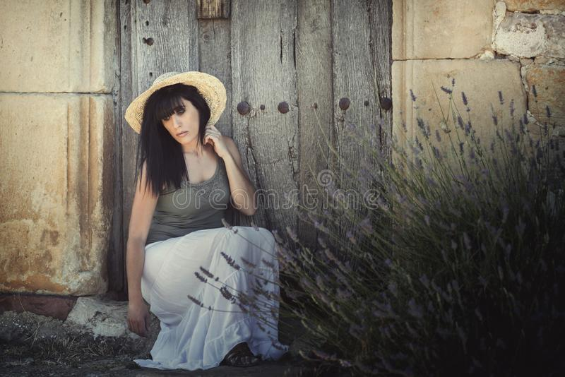 Pensive young woman royalty free stock image