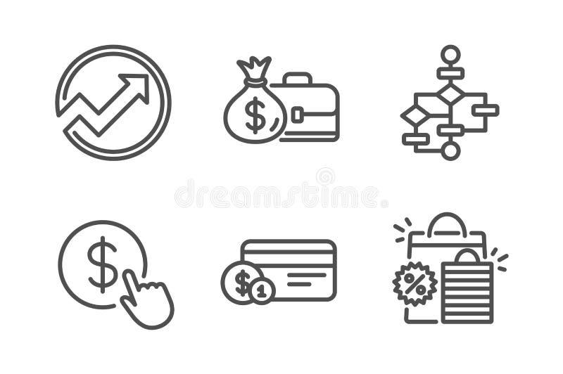Pensja, Blokowy diagram i rewizji ikony ustawia?, Kupuje walut?, P?atnicz? metod? i torba na zakupy znaki, wektor ilustracja wektor