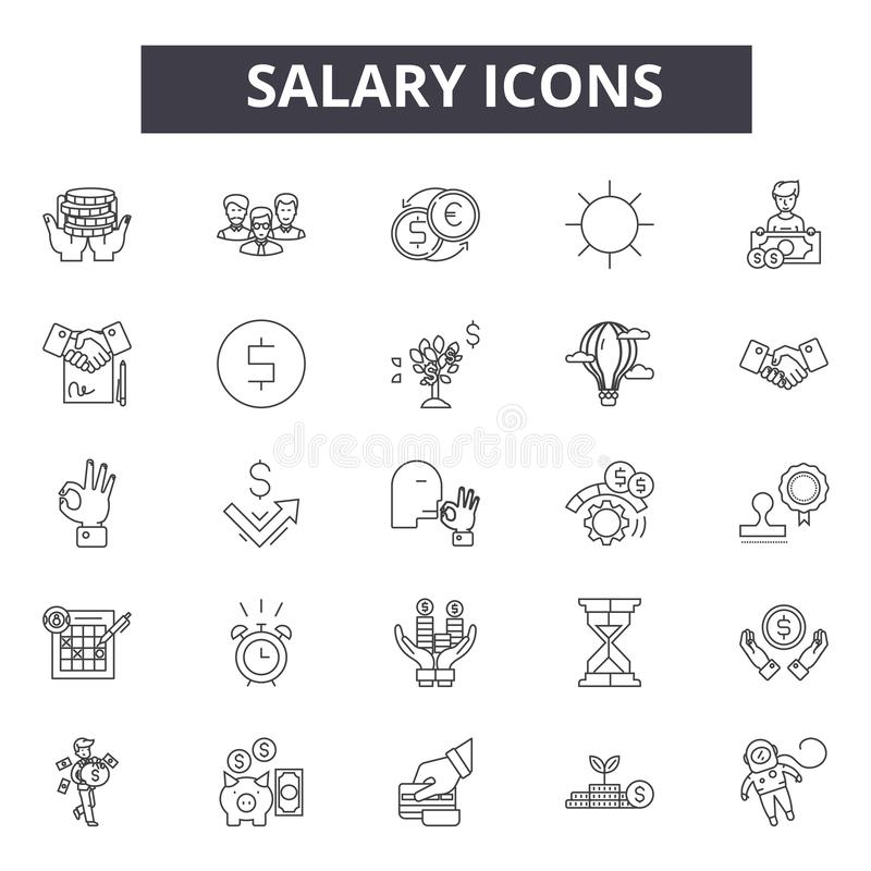 Pensji kreskowe ikony, znaki, wektoru set, kontur ilustracji pojęcie ilustracja wektor