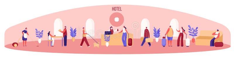Pensjonat panorama, goście z bagażem czeka w kolejce przy przyjęciem, gosposia czyści, kobiety łasowanie przy lokalną restauracją ilustracji